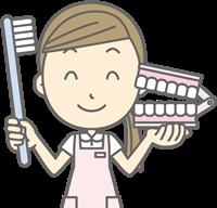 衛生士と歯ブラシ画像